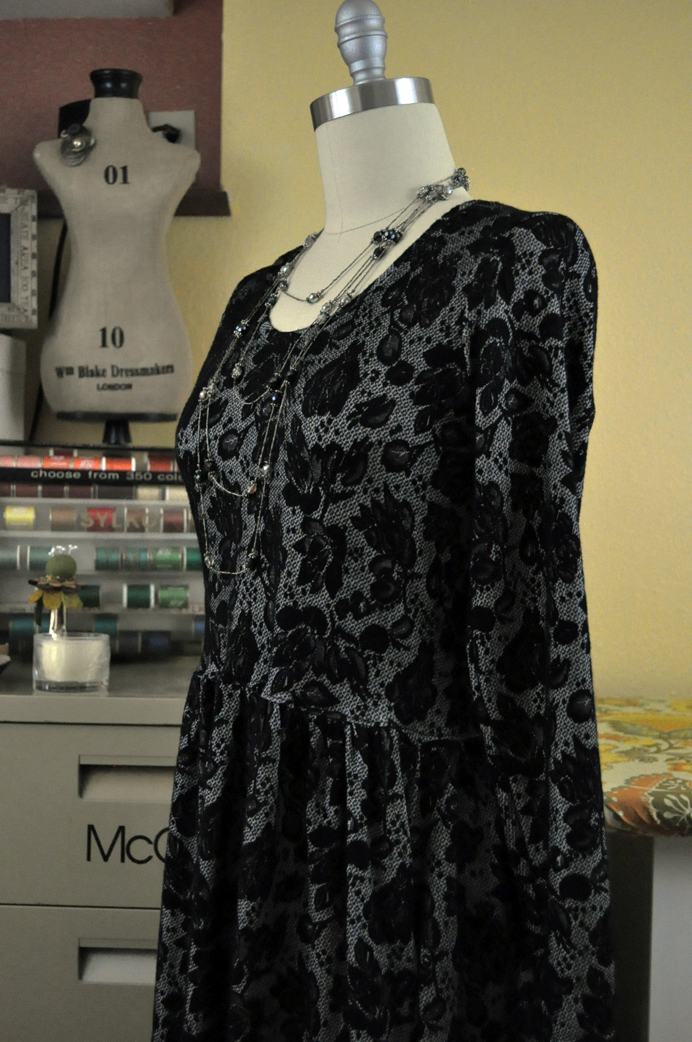 "Sew Caroline's Out and About Dress in a cozy ""lace-look"" ponte knit."