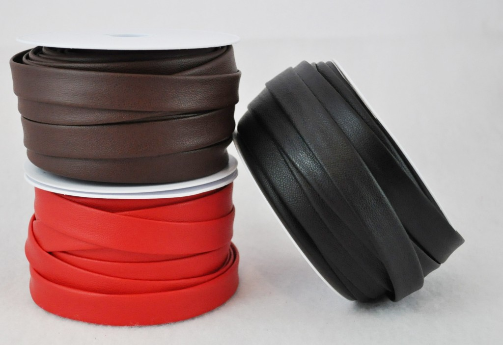Faux Leather Bias Tape- Available in the Black, Brown and Red
