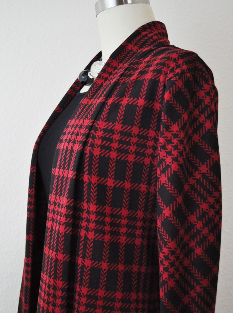 Oslo Cardigan- Plaid Sleeves Cut on the Bias