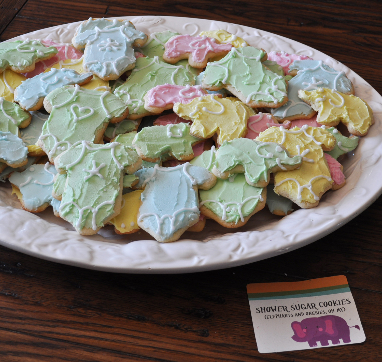 Shower Sugar Cookies- Onesies and Elephants