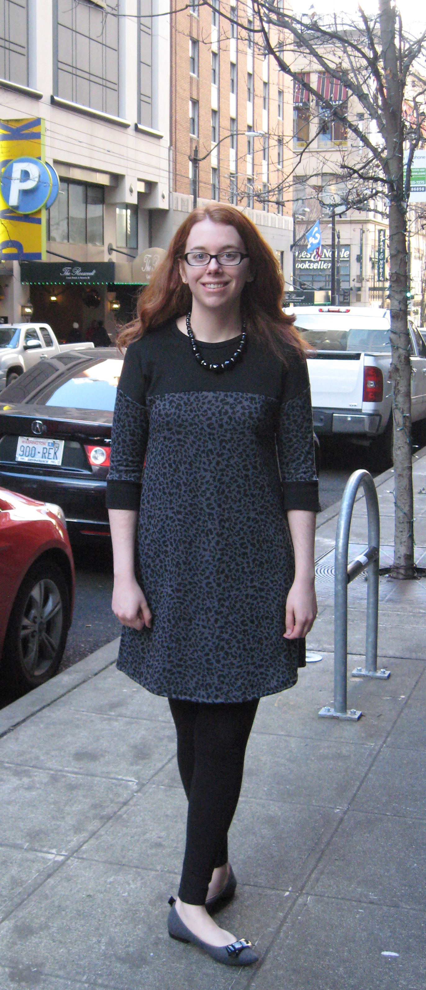 Completed Marianne Dress in Leopard and Black Ponte Knits