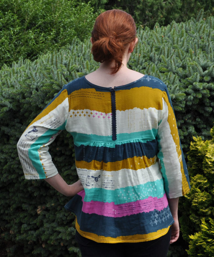 Gathered Back Top in Double Gauze with Zipper Accent