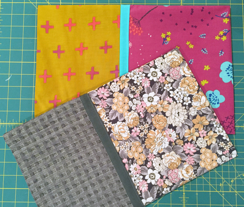 Finished pillowcases in different cotton fabrics.
