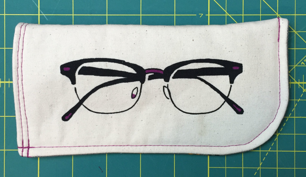 Finished eyeglass/sunglass holder.