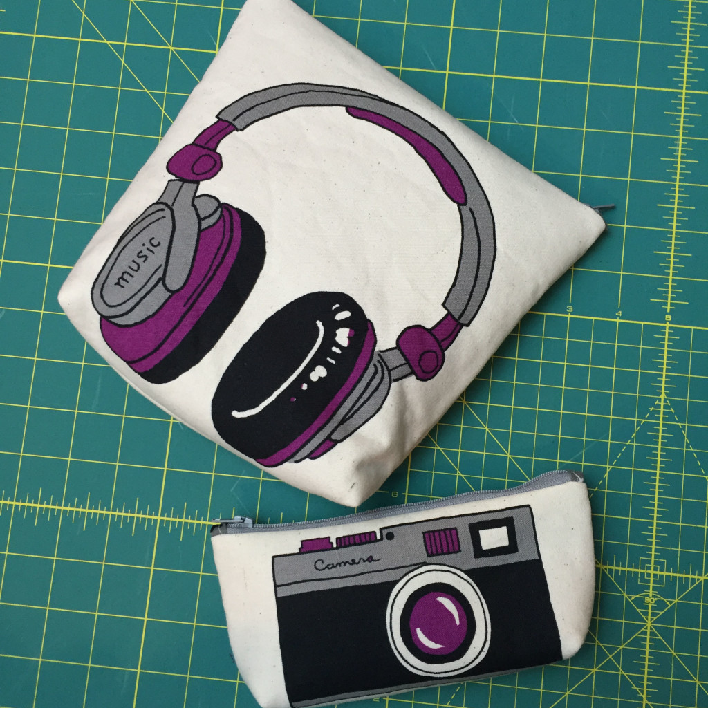 Finished headphone and camera pouches.