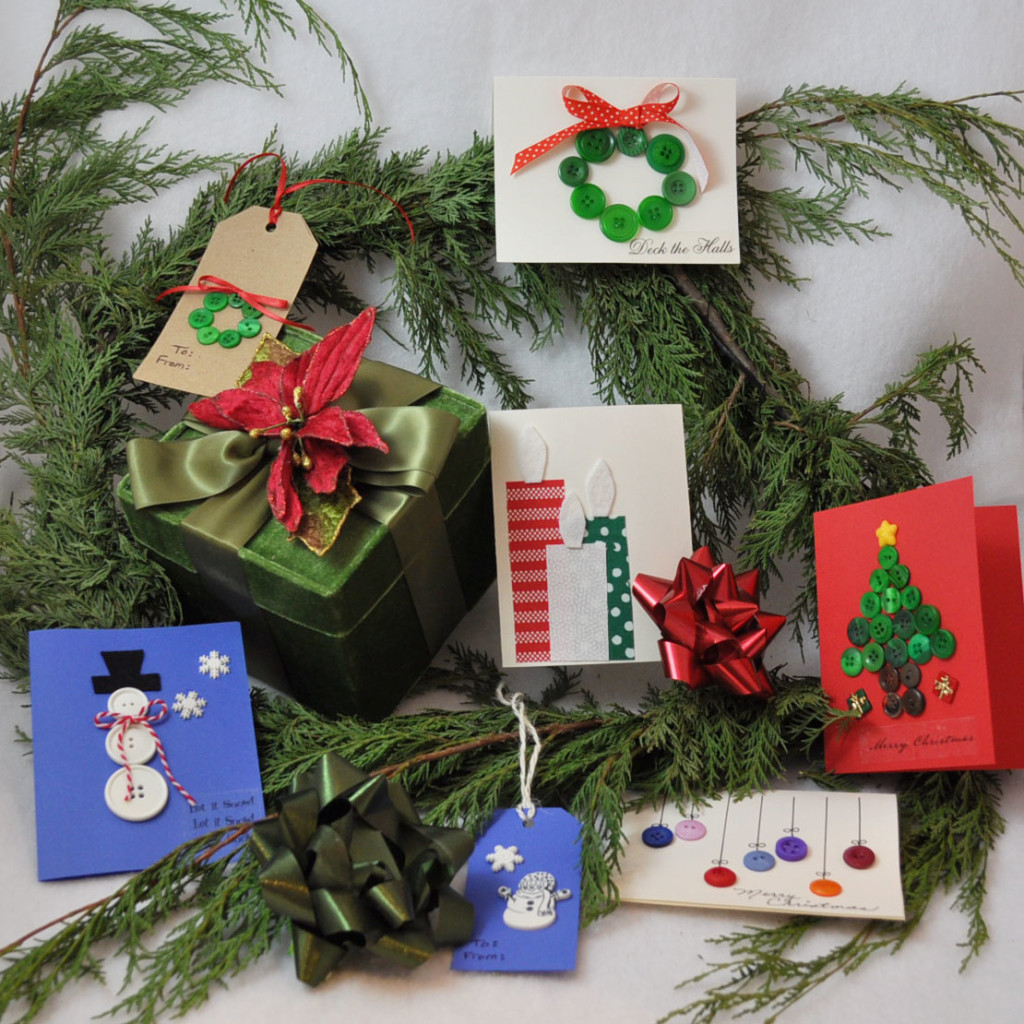 Handmade holiday gift cards and tags.