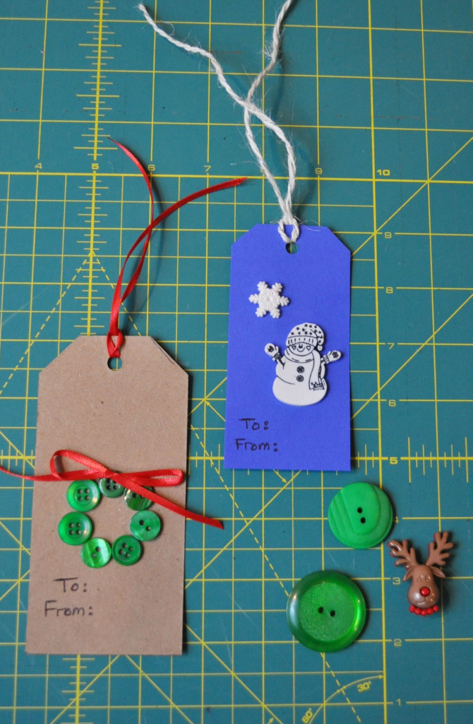 Button gift tags.