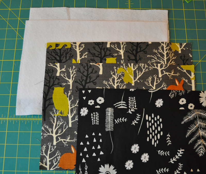 Cut fabric and batting pieces.