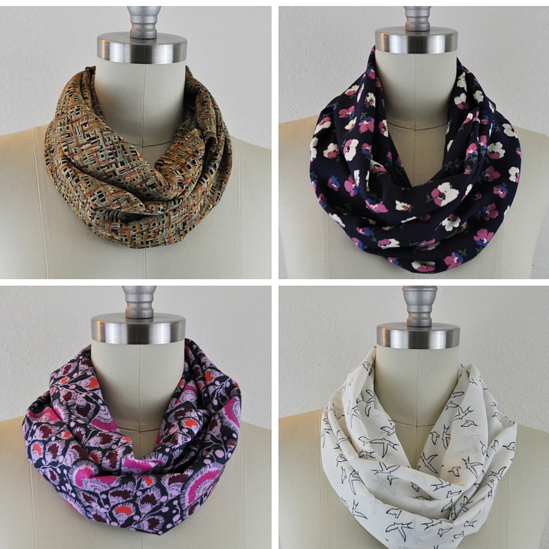 Infinity scarves made up in four different types of fabric.