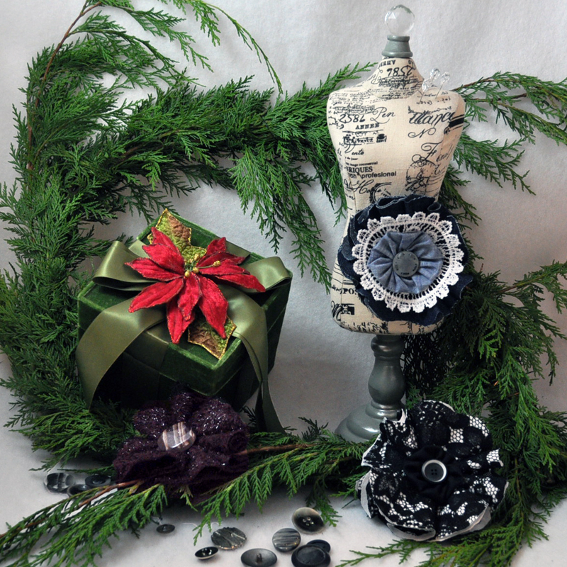 Holiday Gift Idea: Fabric Flower Brooches
