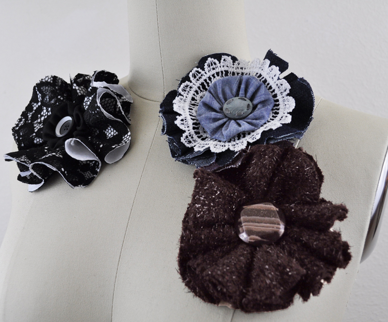 Other completed fabric flower brooches- great gifts!