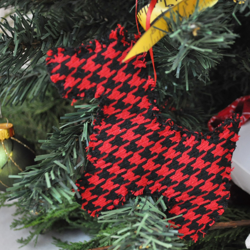 Houndstooth Scottie Dog Ornament