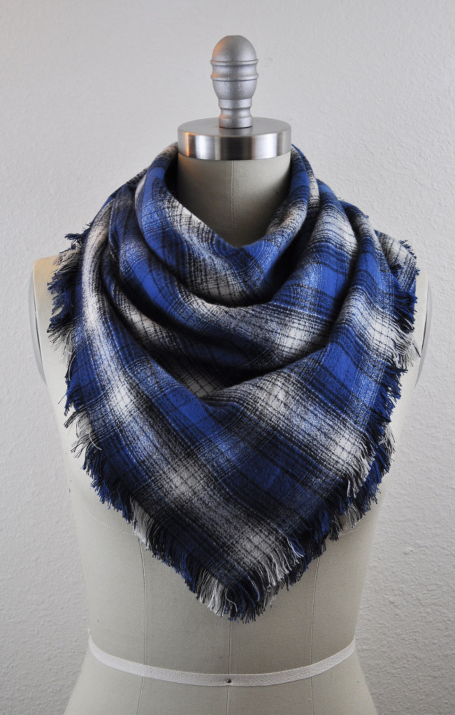 Completed fringed flannel scarf.