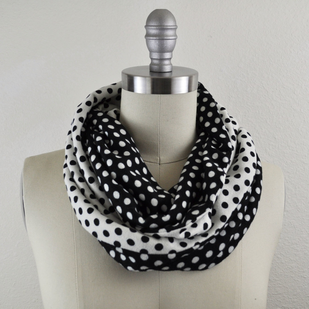 Opposites attract- dot knit infinity scarf.