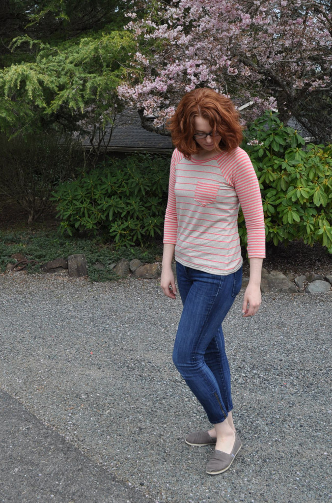 Finished Coral/Oatmeal Stripe Lane Raglan
