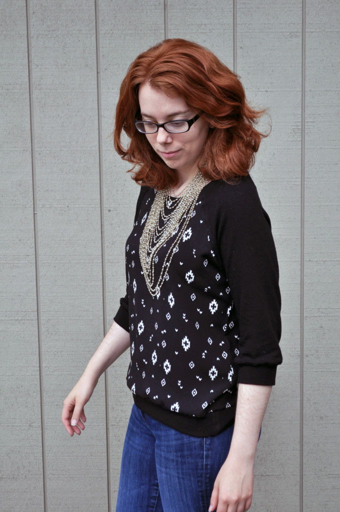 Finished Linen Pullover Styled with Vintage Jewelry