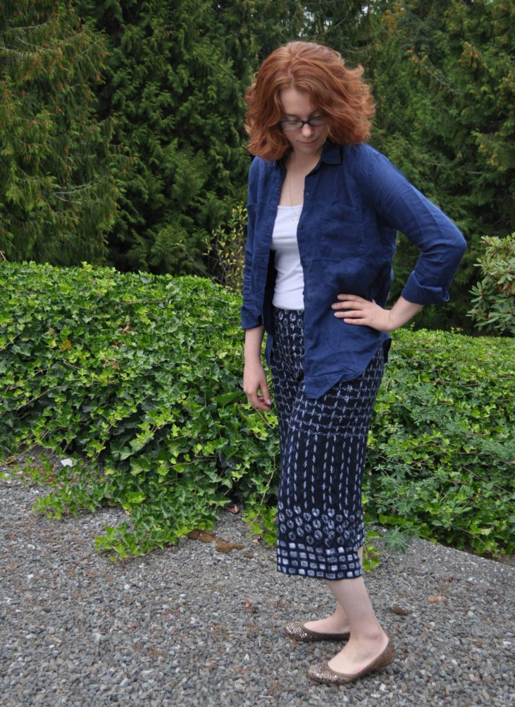 Styled Shibori Emerson Pants with Tank and Linen Shirt