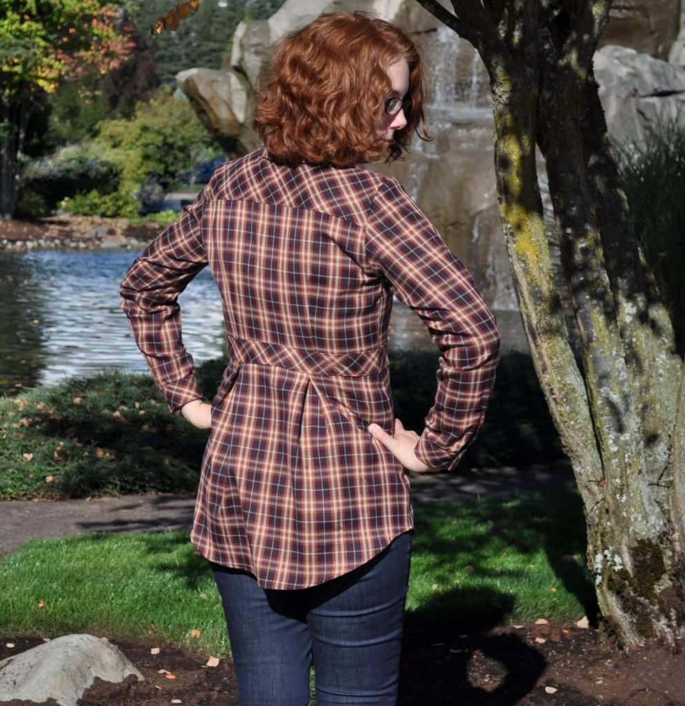 Back view of my Bruyere shirt with bias cut yoke.