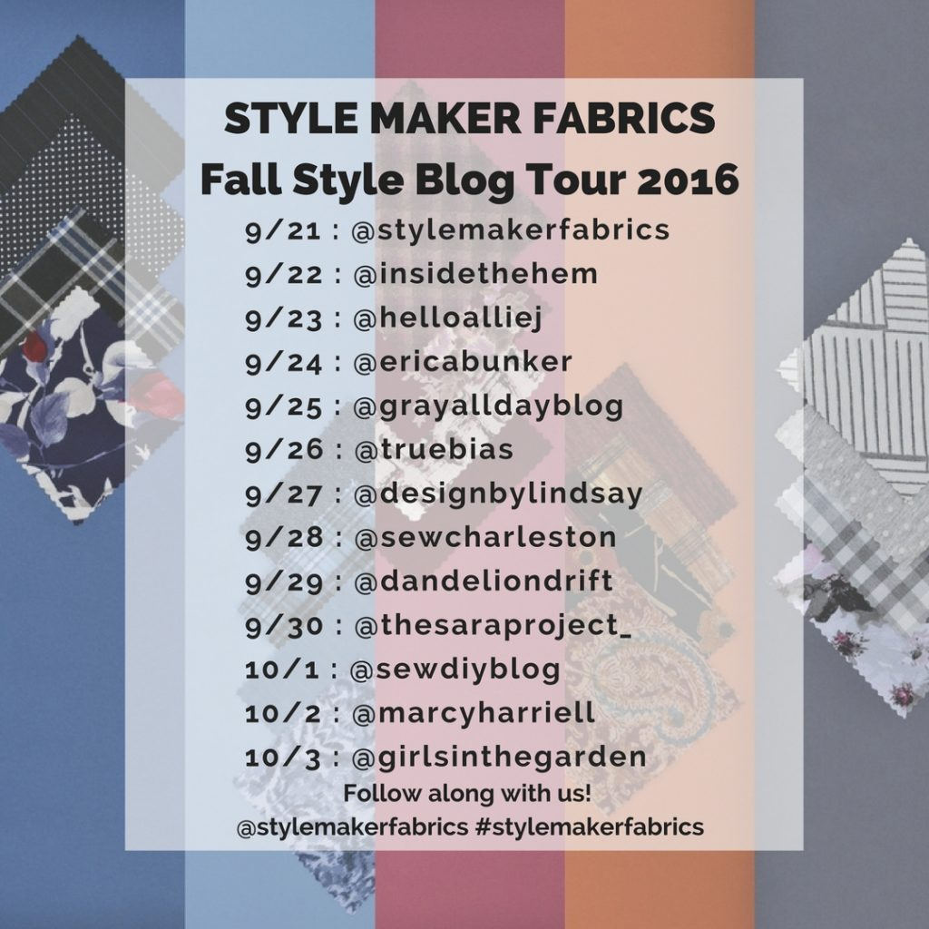 Style Maker Fabrics Fall Style Blog Tour Line Up