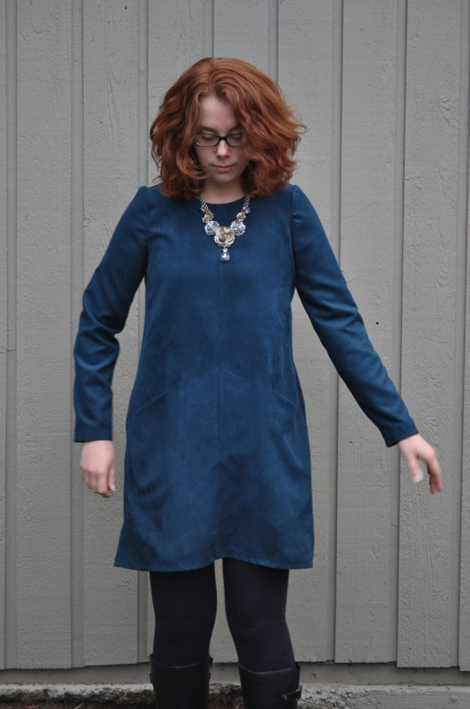 Front View Look at Suede Farrow Dress