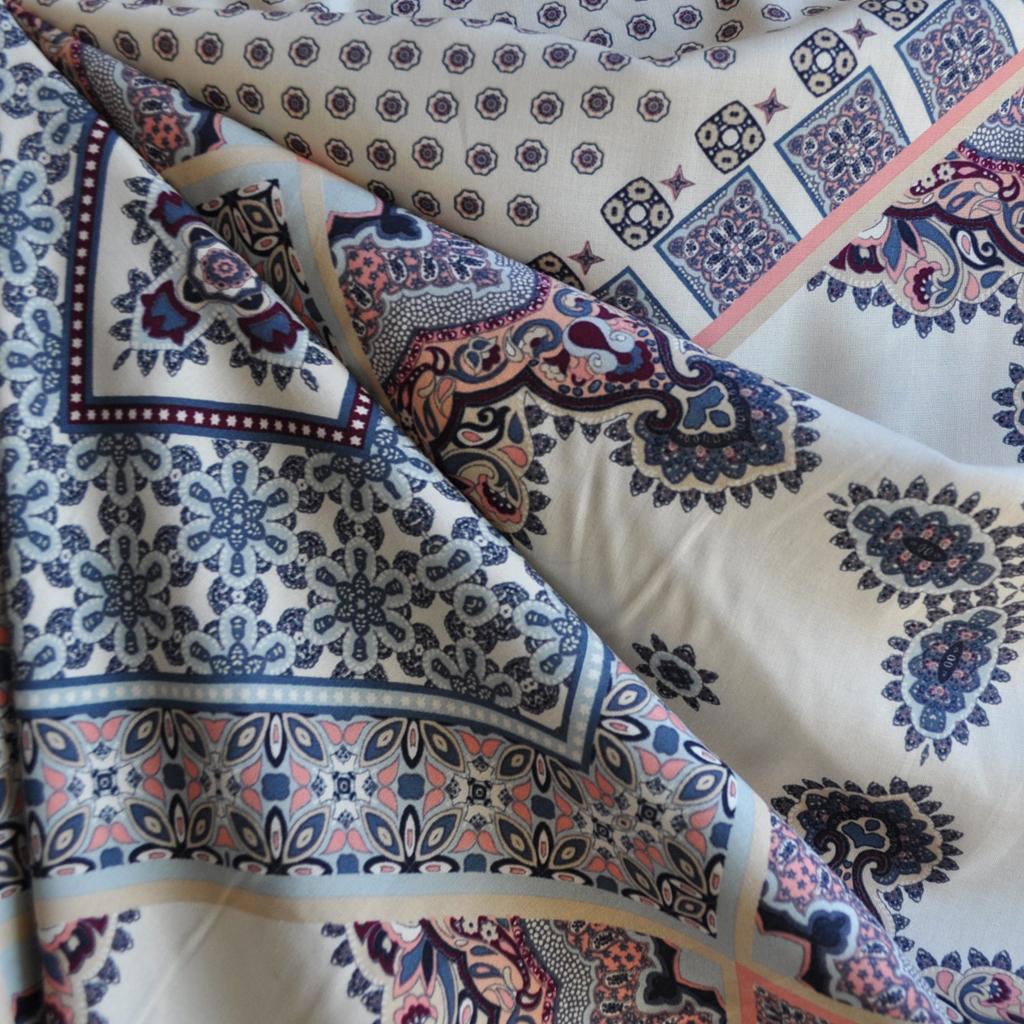 Bohemian Block Print Rayon Draped | Style Maker Fabrics