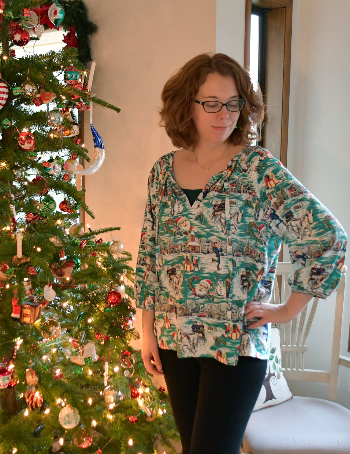 Christmas Roscoe Blouse Front | Style Maker Fabrics