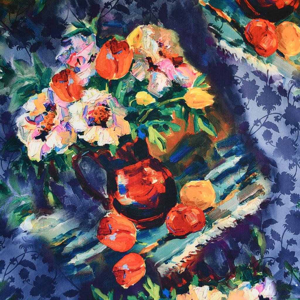 Brushstroke Floral Stretch Taffeta Coating | Style Maker Fabrics