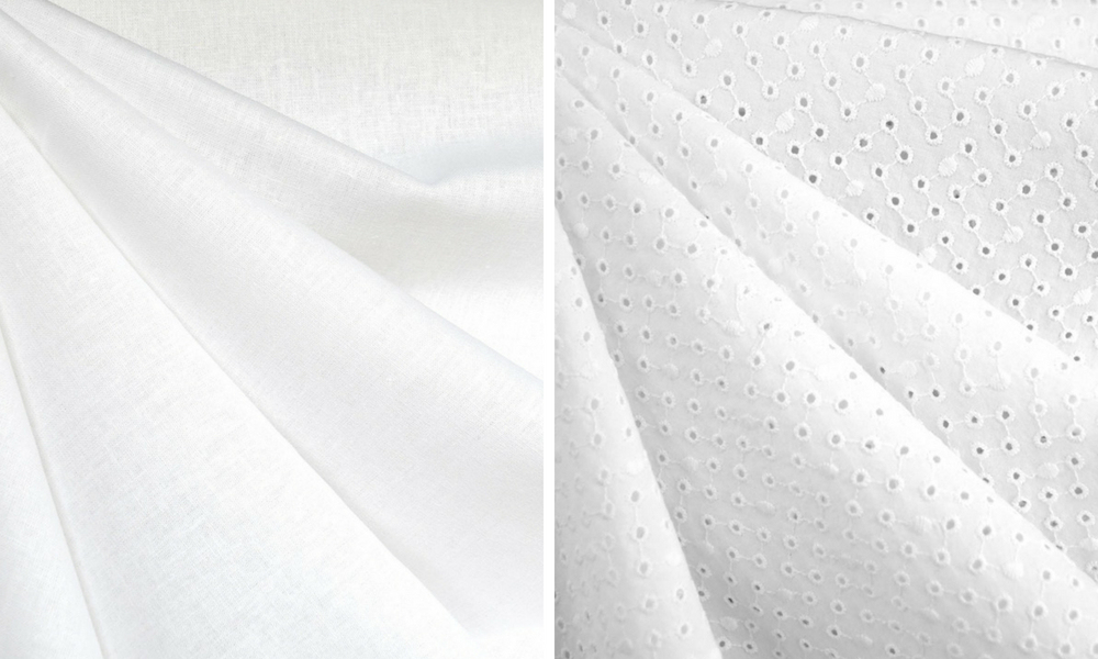 Metamorphic Dress in White Linen and Eyelet | Style Maker Fabrics