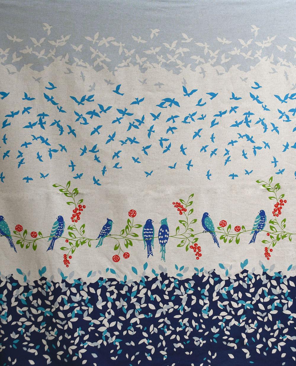 Japanese Bird Border Print | Style Maker Fabrics