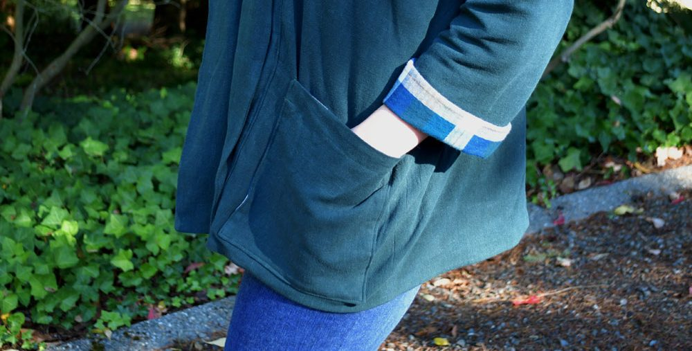 Wiksten Kimono Jacket Pocket and Sleeve Detail | Style Maker Fabrics