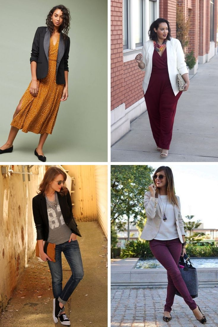 Blazers Paired with Various Outfits (Dress, Jumpsuit, Jeans, Trousers)