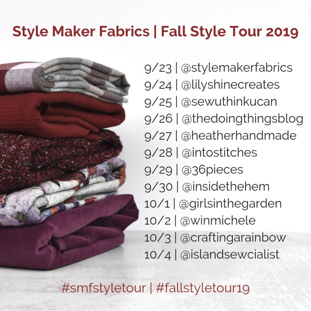 Fall 2019 Style Blog Tour Schedule | Style Maker Fabrics