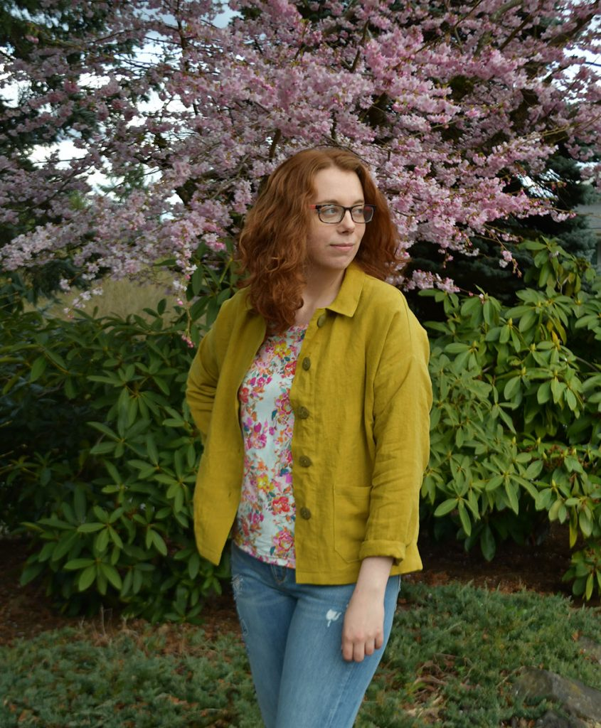 Linen Jacket + Floral Tee Outfit | Style Maker Fabrics