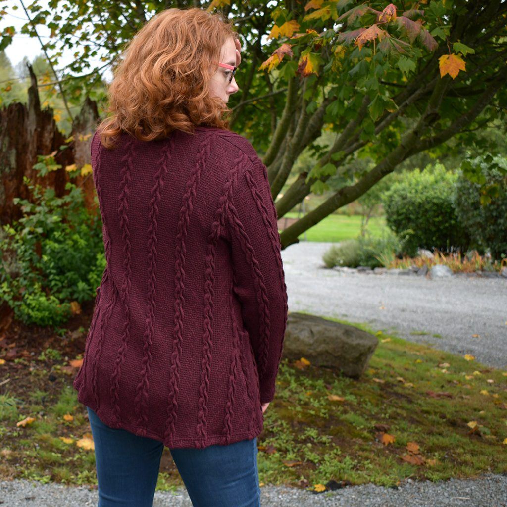 Cable Cardigan Back View | Style Maker Fabrics