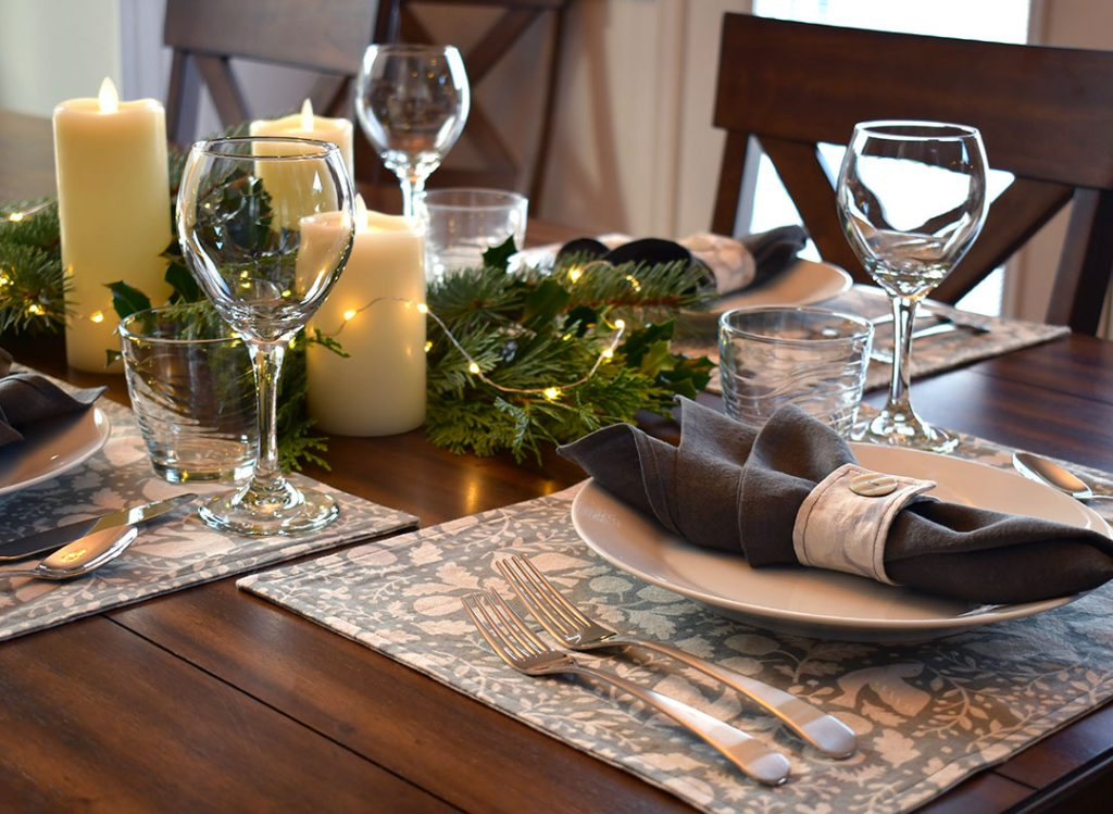 Holiday table with handmade linens | Style Maker Fabrics