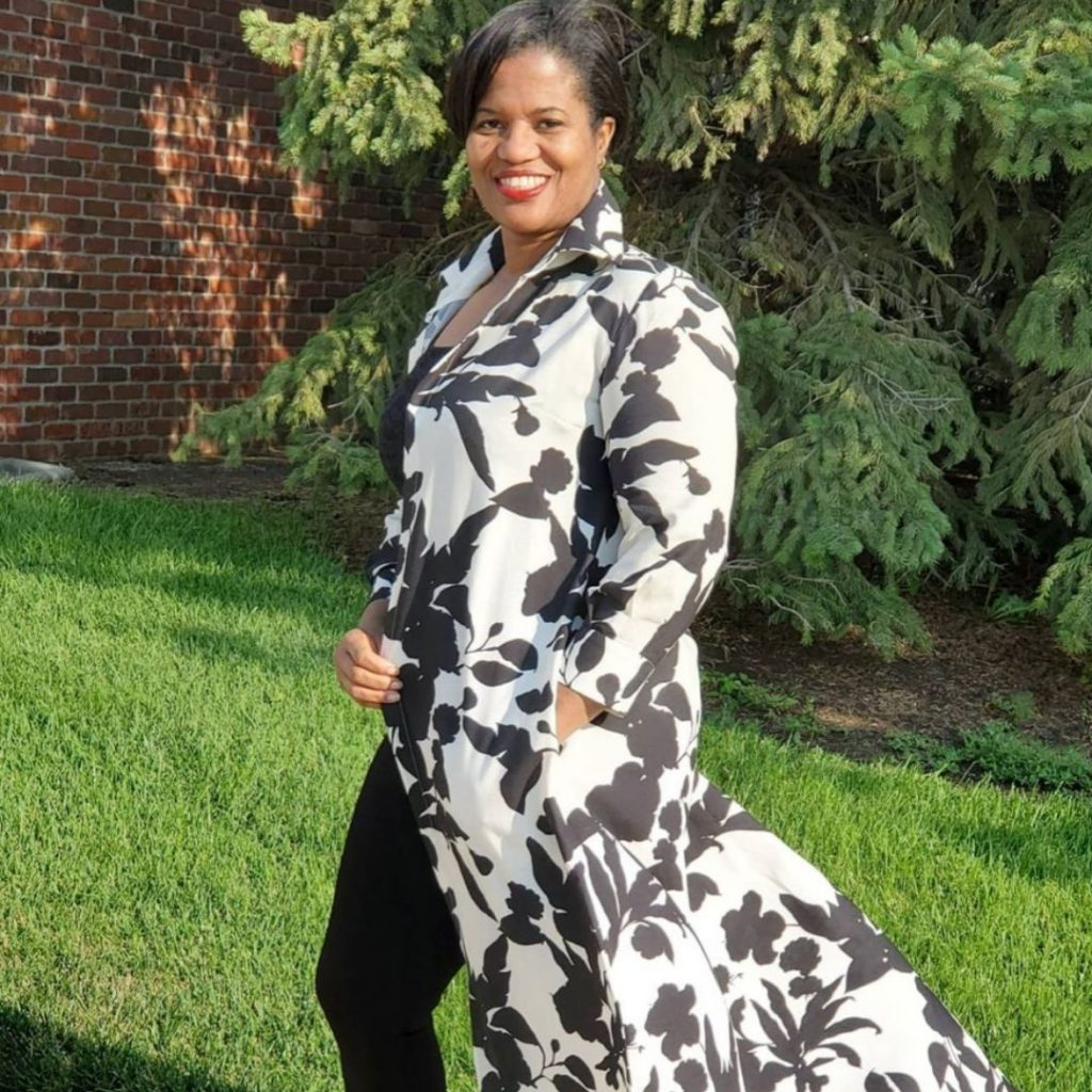 Statement Black and White Duster Jacket | Style Maker Fabrics
