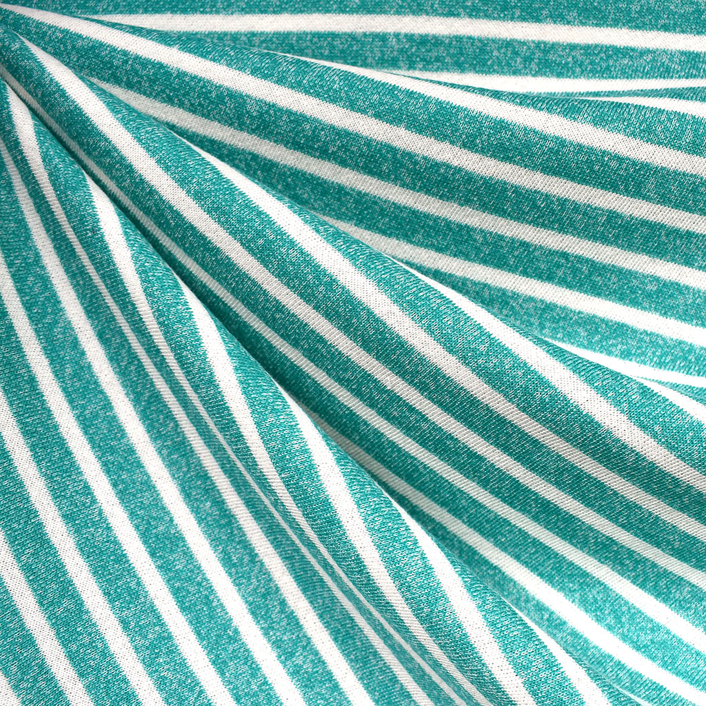 Pencil Stripe Soft French Terry Turquoise/Cream | Style Maker Fabrics
