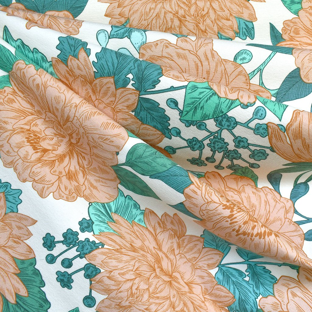 See You at Six Peonies French Terry Vanilla/Peach | Style Maker Fabrics
