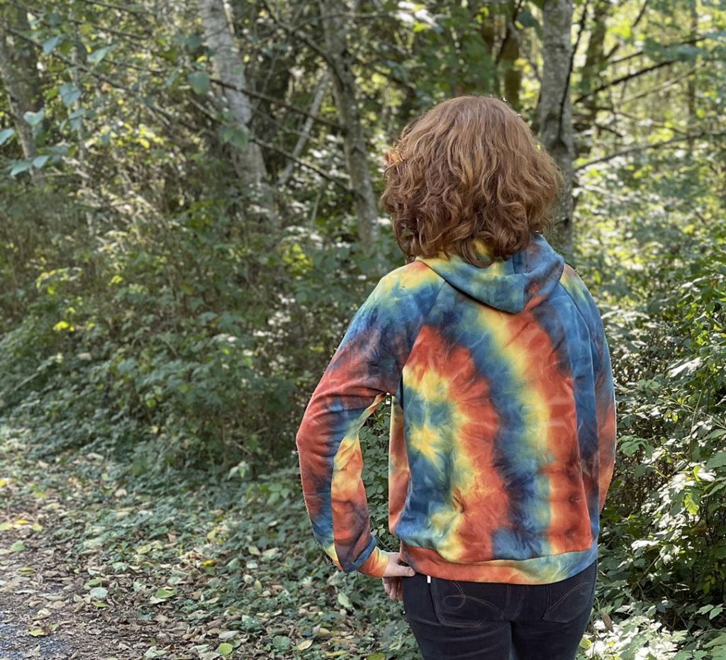 Back View of Marble Dyed Page Hoodie